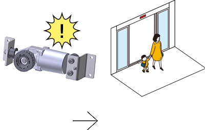 The door system detects the faulty component to provide optimal operation.