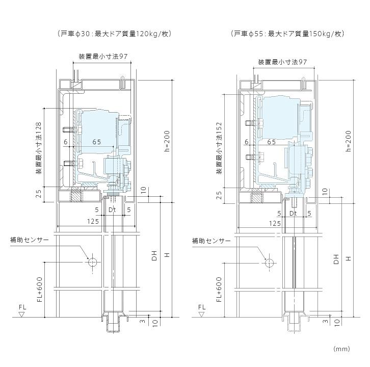 縦断面図: 内蔵納まり