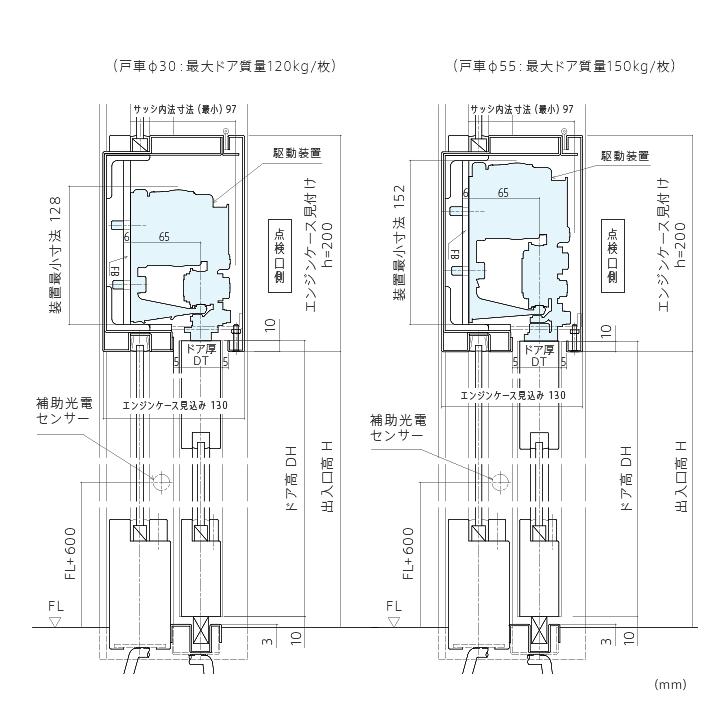縦断面図 (内蔵納まり)